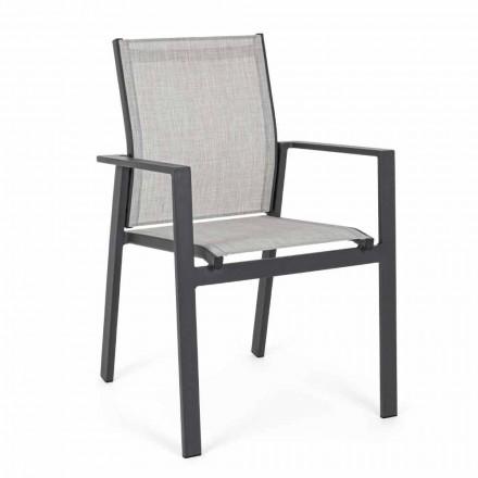 Krzesło ogrodowe z możliwością układania w stosy z siedziskiem tekstylnym, 6 sztuk - Daytona