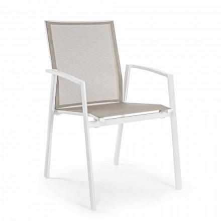 Krzesło ogrodowe z możliwością układania w stosy, malowane aluminium, Homemotion, 4 sztuki - Odelia