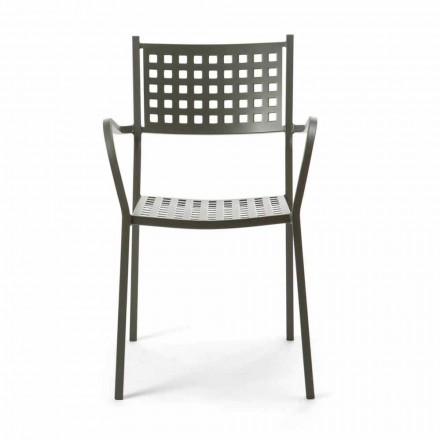 Krzesło ogrodowe do układania w stosy z malowanego metalu Made in Italy, 8 sztuk - Lina