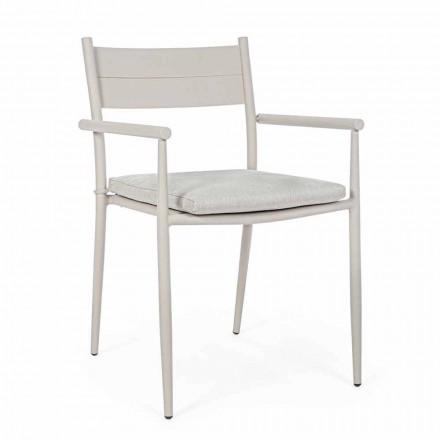 Krzesło ogrodowe z możliwością układania w stos z tkaniny i aluminium, Homemotion, 4 sztuki - Imani