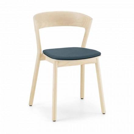 Krzesło jesionowe do układania w stosy z siedziskiem z tkaniny Made in Italy, 2 sztuki - Oslo