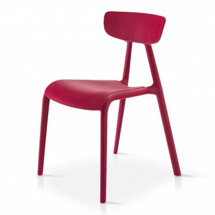 Nowoczesne krzesło do salonu z możliwością układania w stosy z polipropylenu 4 sztuki - Mulan