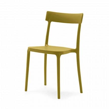 Krzesło do ustawiania w stos z polipropylenu Wyprodukowane we Włoszech 4 sztuk