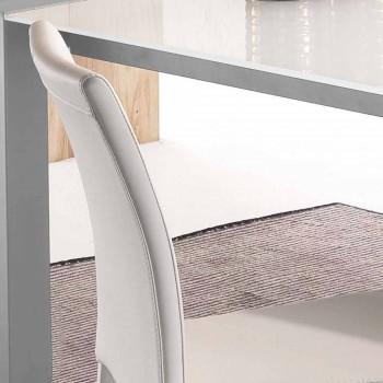 Krzesło Mayer z białej ekoskóry