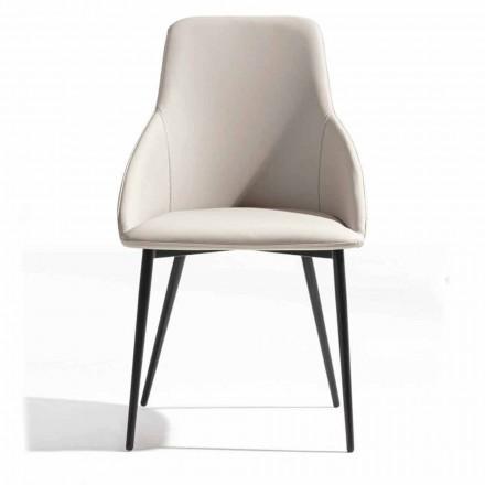 Krzesło z ekoskóry z zdobionym tyłem i czarną metalową podstawą, 2 sztuki - Nima