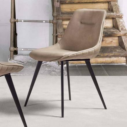Eko-skórzany fotel Nabuk z metalową strukturą - Ermes