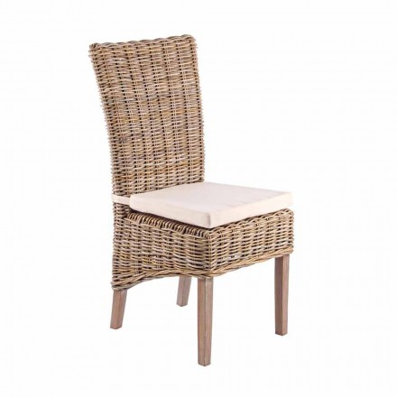 Ogrodowe drewniane krzesło z designerską poduszką na zewnątrz - Taffi