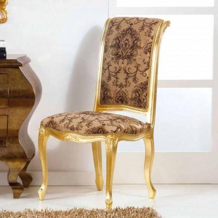 Krzesło klasyczne drewniane w wykończeniu liścia złota model Bellini