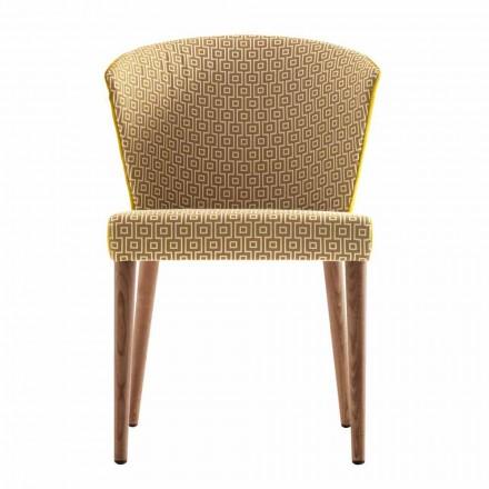 Krzeslo z litego drewna Grilli York tapicerowane made in Italy,2 sztuk