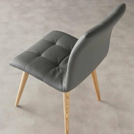 Nowoczesne designerskie krzesło Viola, tapicerka z ekoskóry i drewniane nogi
