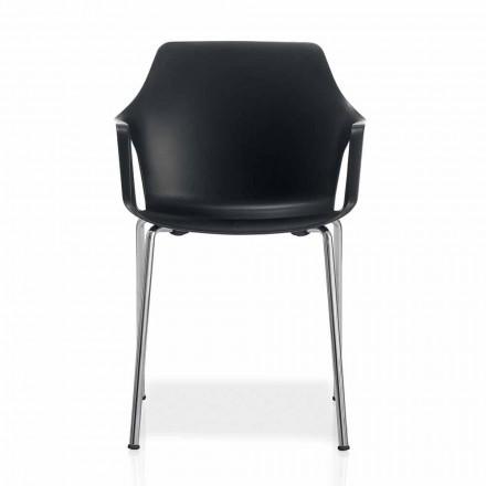 Krzesło z metalu i polipropylenu, które można ustawiać jeden na drugim, wyprodukowane we Włoszech, 4 sztuki - karmel