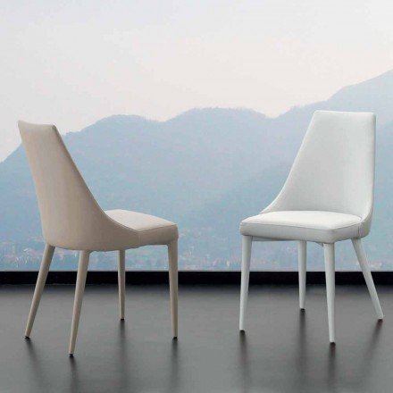 Krzesło z metalu pokryte całkowicie sztuczną skórą Nepitella