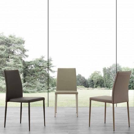 Sedia in metallo rivestita in ecopelle Caserta, design moderno