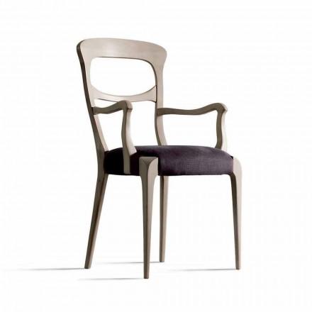 Krzesło z litego orzecha canaletto z podłokietnikami i siedziskiem z tkaniny, Noemy