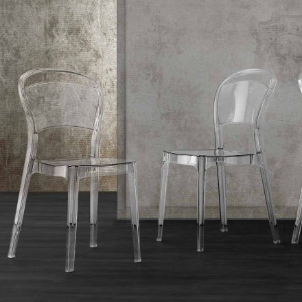 Krzesło z przezroczystego poliwęglanu o nowoczesnym designie - Yanis