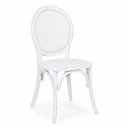 Homemotion Krzesło z rattanu i wiązu w klasycznym stylu - Alfreda