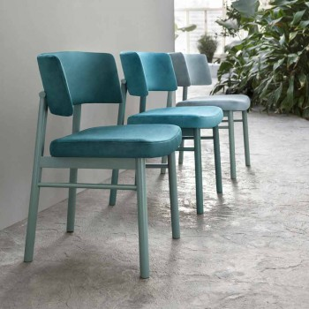 Aksamitne krzesło z podstawą z malowanego jesionu Made in Italy, 2 sztuki - Alaska