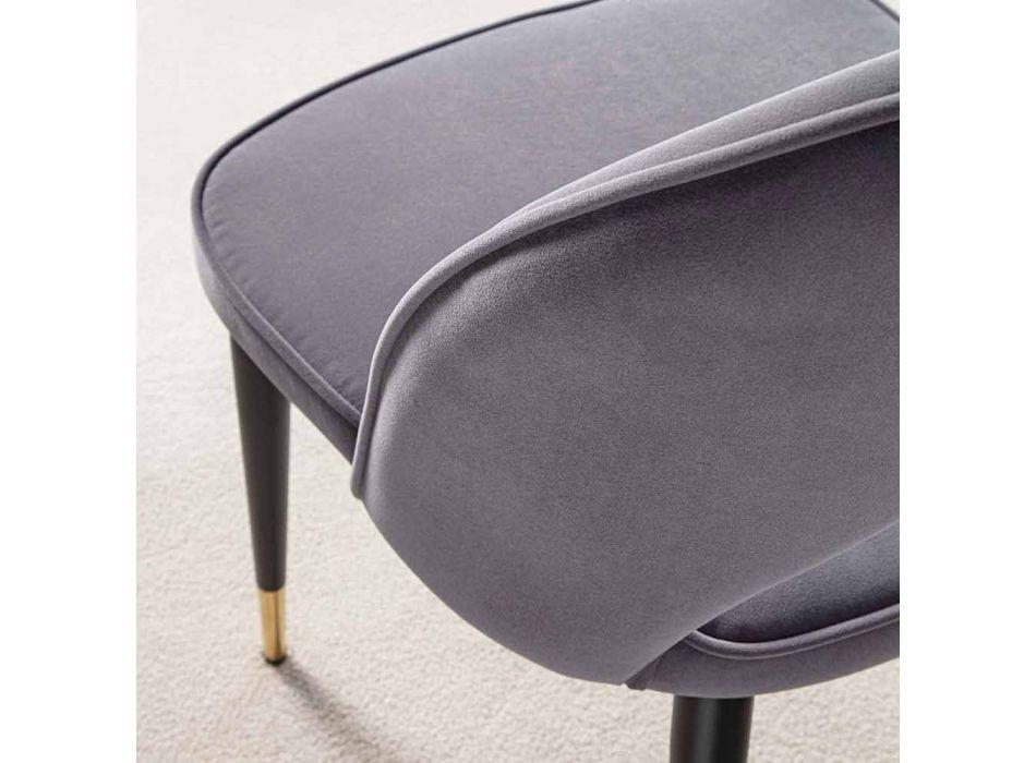 Aksamitne krzesło z czarnymi metalowymi i satynowymi mosiężnymi nogami, 4 sztuki - Sibea