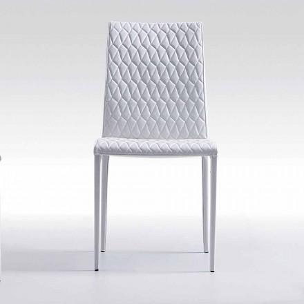 Krzesło całkowite z eko-skóry nowoczesny design made in Italy, Afra