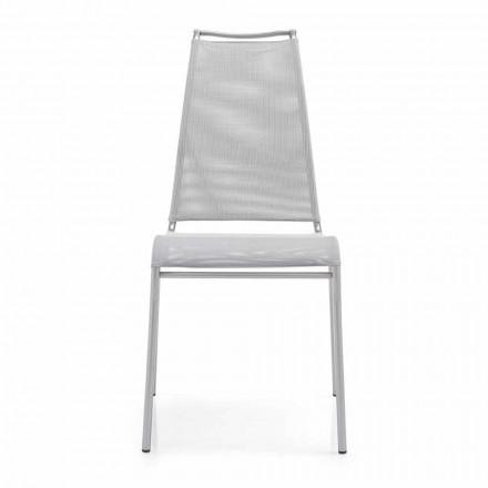 Krzesło z wysokim oparciem ze stali satynowej Made in Italy, 2 sztuk - Air High