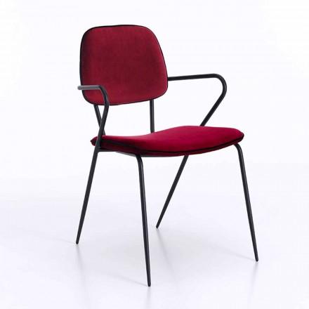 Nowoczesne krzesło z podłokietnikami i siedziskiem pokryte aksamitem, 4 sztuki - Cioli