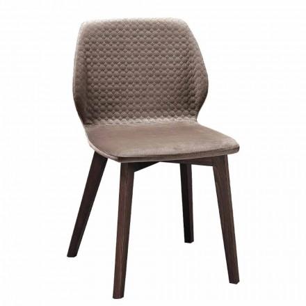 Nowoczesne, eleganckie krzesło z pikowanego aksamitu i drewna 4 sztuki - Scarat