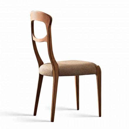Nowoczesne krzesło z litego orzecha canaletto i tapicerowanym siedziskiem, Gemma