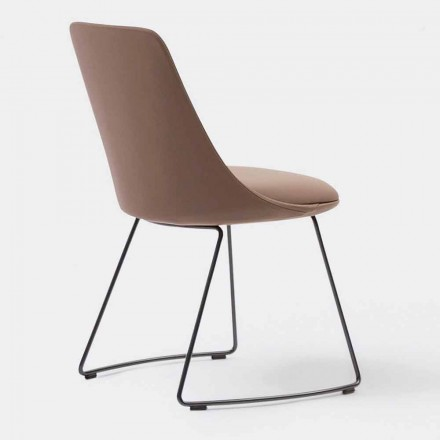 Nowoczesne skórzane krzesło ze saniami wykonane we Włoszech - Itala Si