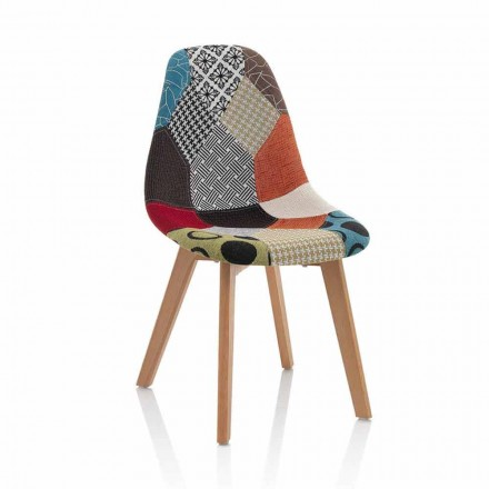 Nowoczesne krzesło w patchworku z drewnianymi nogami, 4 sztuki - Selena