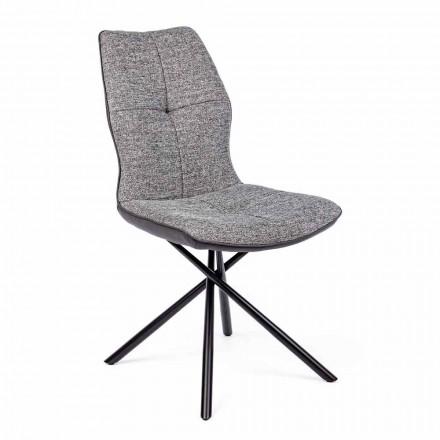 Nowoczesne krzesło pokryte poliestrem i skórą ekologiczną 4 sztuki Homemotion - Plero