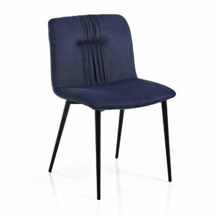 Krzesło Monocoque z kolorowej tkaniny i czarnego metalu 4 sztuki - Florinda