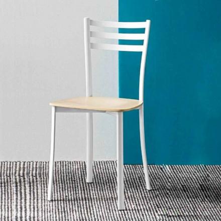 Krzesło kuchenne z białego metalu i drewna bukowego Made in Italy, 2 sztuk - Ace