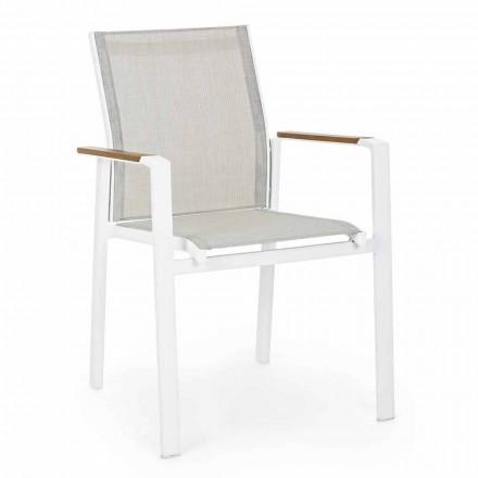 Krzesło do ustawiania w stos z podłokietnikami z aluminium Homemotion - Sciullo