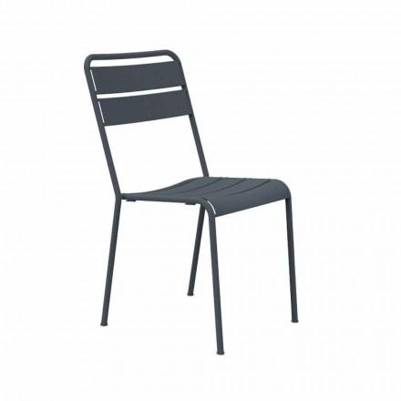 Krzesło ogrodowe do układania w stosy, malowane proszkowo Made in Italy, 4 sztuki - Amina