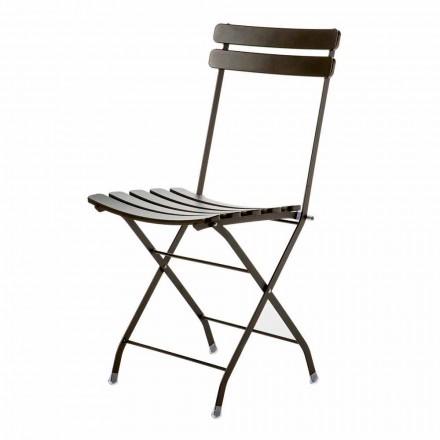 Składane krzesło ogrodowe z malowanego metalu Made in Italy, 4 sztuki - Lori