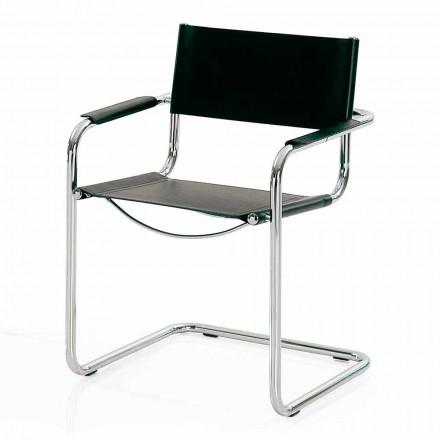Krzesło do pokoju konferencyjnego w czarnej skórze i metalu - Cirillo