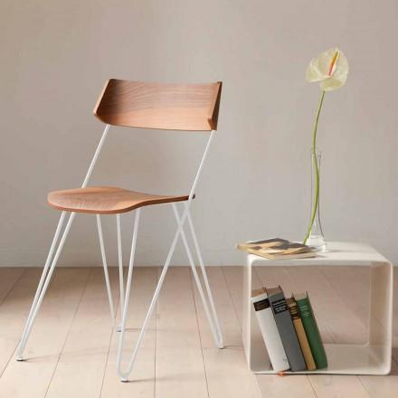 Ręcznie robione krzesło do jadalni z drewna i stali Made in Italy - Valencia