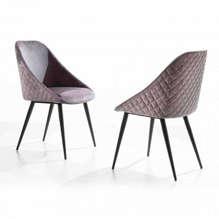 Krzesło do jadalni z siedziskiem pokrytym aksamitem lub ekoskórą - Alida