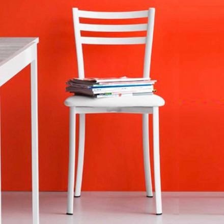 Krzesło do jadalni z metalu i sztucznej skóry Made in Italy, 2 sztuk - Ace