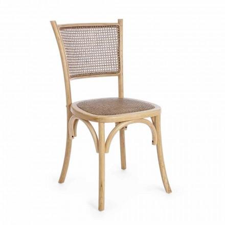 Krzesło do jadalni z rattanu i drewna w klasycznym stylu Homemotion - Meridia