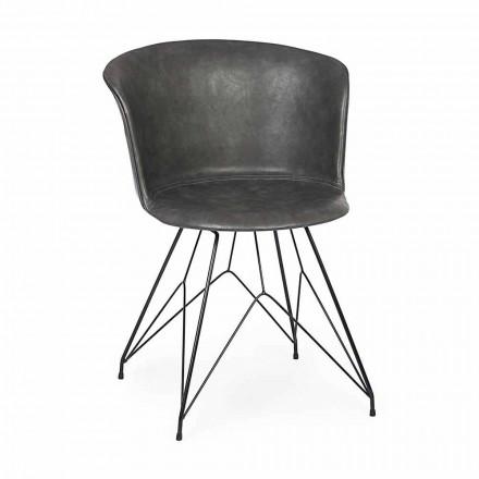Krzesło do jadalni ze sztucznej skóry i stali 2 sztuki Homemotion - Katya