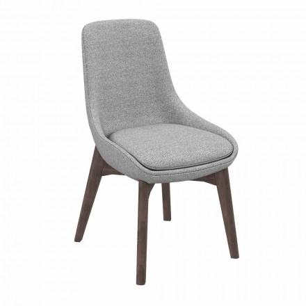 Krzesło do jadalni materiałowe z drewnianą podstawą Made in Italy - kokos