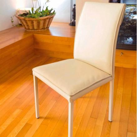 Krzesło brązowoszare z sztucznej skóry Bessie, made in Italy
