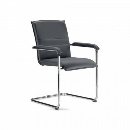 Krzesło w czarnej i metalowej sztucznej skórze, 2 sztuk - Oberon