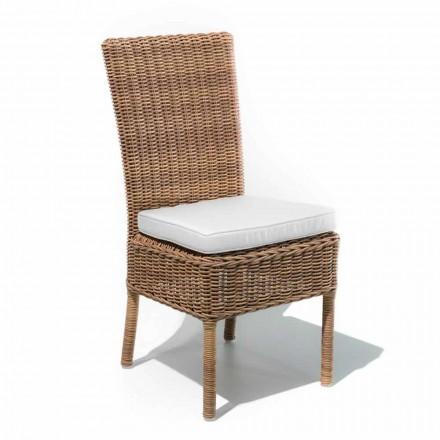 Krzesło do jadalni na zewnątrz z tkanego syntetycznego rattanu i tkaniny, 2 sztuki - Yves