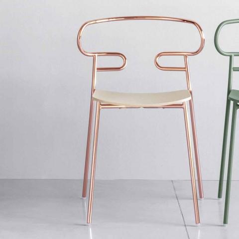 Cenne krzesło do układania w stosy z metalu i jesionu Made in Italy, 2 sztuki - Trosa