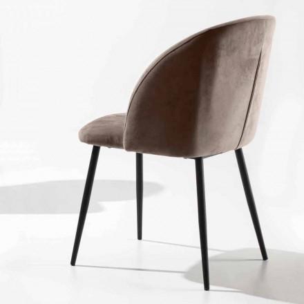 Krzesło tapicerowane welurem z podstawą z malowanego na czarno metalu, 2 sztuki - Havana