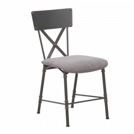 Krzesło do jadalni w stylu industrialnym z MDF i metalu - Elodie