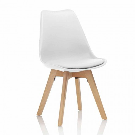 Krzesło do jadalni z PCV i drewna z siedziskiem ze sztucznej skóry, 4 sztuki - ekspertyza