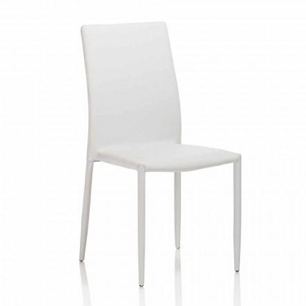 Krzesło do jadalni ze sztucznej skóry z metalową konstrukcją, 4 sztuki - Giola